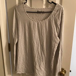 Eddie Bauer white and grey striped long sleeve